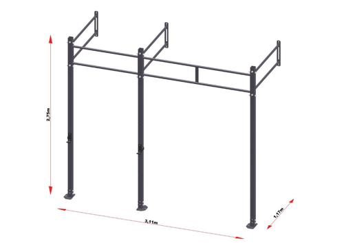 PRO Workout Rig Fixe au mur 300 cm Short Version