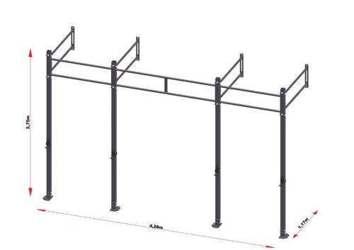 PRO Workout Rig Fixe au mur 420 cm Short Version