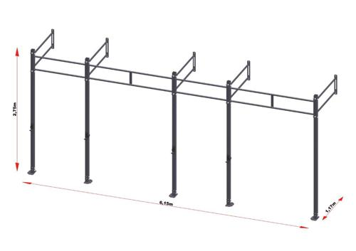 PRO Workout Rig Fixe au mur 600 cm Short Version