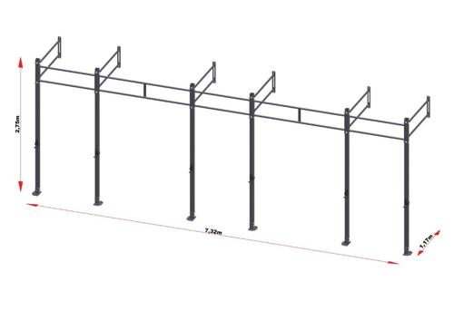 PRO Workout Rig Fixe au mur 720 cm Short Version