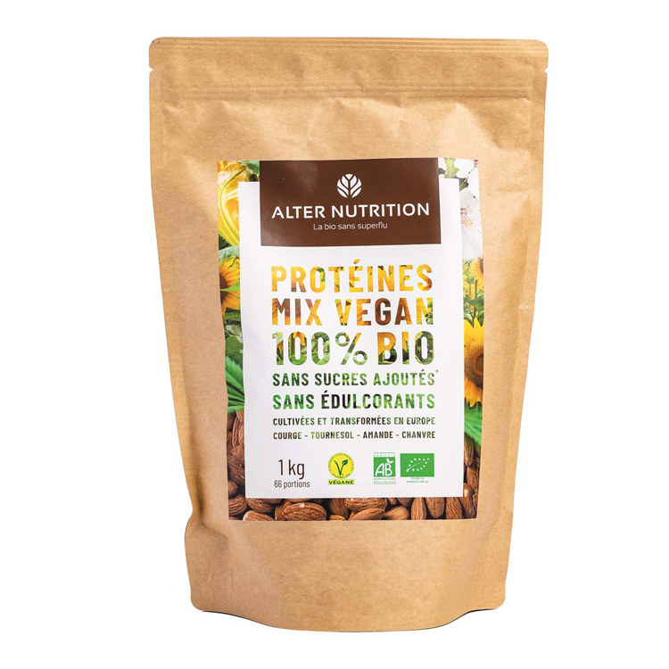 Bio Vegan Proteïne Mix Pompoen - Zonnebloem - Hennep - Amandelen